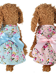cheap -Dog Cat Dress Bowknot Flower Leisure Sweet Dog Clothes Puppy Clothes Dog Outfits Blue Pink Costume for Girl and Boy Dog Polyester Cotton XS S M L XL
