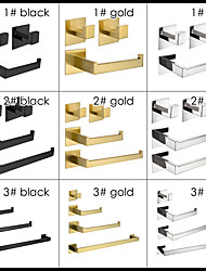 cheap -Special-made Strong Viscosity Adhesive Bathroom Accessories Set Without Drilling Gold Matt Black Brushed Finished Towel Bar Holder Rack Robe Hook Tissue Toilet Paper Holder High Quality