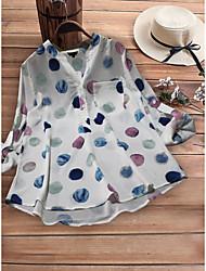 cheap -Women's Plus Size Polka Dot Loose Shirt - Cotton Daily White