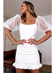 cheap -Sheath / Column Off Shoulder Short / Mini Chiffon White Cocktail Party / Party Wear / Wedding Guest Dress 2020 with Ruched / Pleats