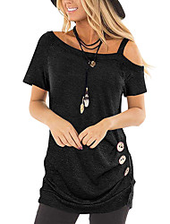 cheap -Women's Daily Basic Blouse - Solid Colored Black
