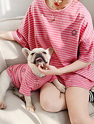 cheap -Dog Costume Shirt / T-Shirt Matching Outfits Dog Clothes Breathable White Yellow Blue Costume Bulldog Bichon Frise Schnauzer Cotton Striped Simple Style Casual / Sporty Women M S M L XL XXL