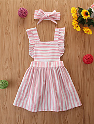 cheap -Toddler Girls' Basic Striped Sleeveless Knee-length Dress Black