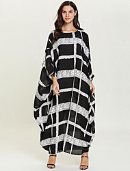 cheap -Adults' Women's A-Line Slip Abaya Dress Muslim Dress Maxi Dresses For Party Cotton Plaid / Check Halloween Carnival Masquerade Dress