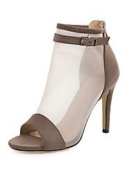 cheap -Women's Sandals Mesh Stiletto Heel Peep Toe Buckle Microfiber Classic / Vintage Spring & Summer Almond / Black / Party & Evening / Party & Evening