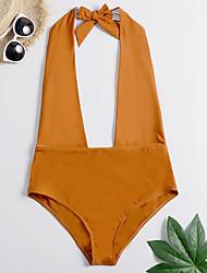 cheap -Women's Basic Light Brown Navy Blue Halter Cheeky One-piece Swimwear - Solid Colored Backless XL XXL XXXL Light Brown