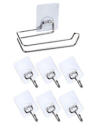cheap -Pieces Robe Hook Tissue Paper Holder Storage Rack Set Bathroom Accessories Kitchen Hook Strong Viscosity Adhesive Without Drilling Rustproof Traceless Self-adhesive 304# Stainless Steel 6hooks1tissu