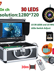 abordables -F7AD-2L-30M DVR Fish Finder Caméra de pêche sous-marine HD 1280 * 720 Screen15pcs White Leds15pcs Lampe infrarouge 1080p 30m Camera for Fishing 16GB Recoding