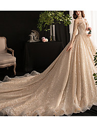 cheap -A-Line Strapless Court Train Lace / Tulle 3/4 Length Sleeve Casual Plus Size Wedding Dresses with Lace Insert 2020