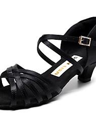 cheap -Women's Latin Shoes PU Heel Cuban Heel Dance Shoes Black / Dark Brown / White