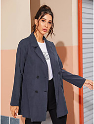 cheap -Women's Holiday / Going out Basic Fall & Winter Short Coat, Solid Colored V Neck Long Sleeve Faux Linen Print Navy Blue
