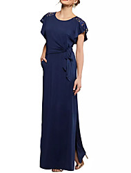 cheap -Sheath / Column Jewel Neck Floor Length Chiffon / Lace Elegant / Blue Formal Evening / Wedding Guest Dress with Draping / Split 2020