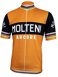 cheap -21Grams Men's Short Sleeve Cycling Jersey Spandex Black / Orange Italy National Flag Bike Jersey Top Mountain Bike MTB Road Bike Cycling UV Resistant Quick Dry Breathable Sports Clothing Apparel