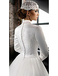 cheap -A-Line High Neck Court Train Lace / Tulle Long Sleeve Country Wedding Dresses with 2020