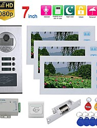 cheap -7inch Record Wired Wifi Video Intercom 3 Apartments Doorphone System with  RFID 1080P Doorbell Camera NO Electric Strike Door Lock