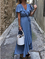 cheap -Women's Maxi Swing Dress - Polka Dot V Neck Blue M L XL
