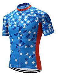 cheap -21Grams Men's Short Sleeve Cycling Jersey 100% Polyester Sky Blue Plaid / Checkered Geometic Bike Jersey Top Mountain Bike MTB Road Bike Cycling UV Resistant Breathable Quick Dry Sports Clothing