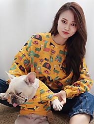 cheap -Dog Cat Costume Shirt / T-Shirt Matching Outfits Winter Dog Clothes Warm Black Purple Yellow Costume Bulldog Bichon Frise Schnauzer Plush Cotton Cartoon Flower Leisure Animal Women M S M L XL XXL