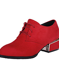cheap -Women's Oxfords Chunky Heel Round Toe Suede Casual / Minimalism Spring &  Fall Black / Burgundy / Red