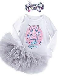 Недорогие -малыш Девочки Классический С принтом Длинный рукав Обычный Набор одежды Белый