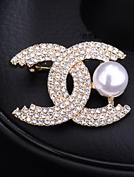 cheap -Women's Cubic Zirconia Brooches Classic Letter Elegant Sweet Brooch Jewelry Golden Silver For Party Wedding