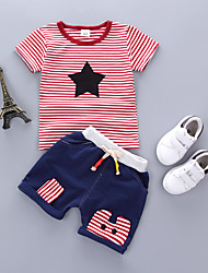 cheap -Kids Boys' Vintage School Daily Wear Geometric Embroidered Short Sleeve Regular Clothing Set Red