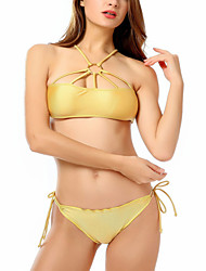 cheap -Women's Basic Gold Halter Thong Bikini Swimwear Swimsuit - Solid Colored S M L Gold