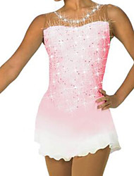 cheap -Figure Skating Dress Women's Girls' Ice Skating Dress Pink Patchwork Spandex High Elasticity Training Competition Skating Wear Crystal / Rhinestone Sleeveless Ice Skating Figure Skating