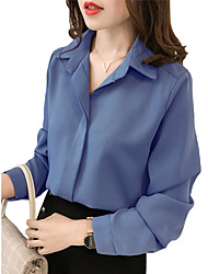 cheap -Women's Plus Size Solid Colored Blouse Holiday Going out Shirt Collar Blue