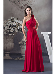 cheap -A-Line One Shoulder Floor Length Chiffon Elegant Formal Evening Dress with Draping / Sash / Ribbon / Ruched 2020