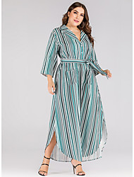 cheap -Women's A Line Dress - Stripes Green L XL XXL XXXL