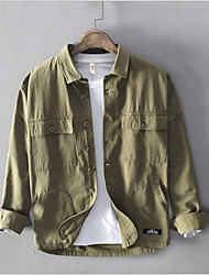 cheap -Men's Daily Shirt - Solid Colored Army Green
