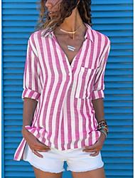 cheap -Women's Daily Shirt - Striped Square Neck Black