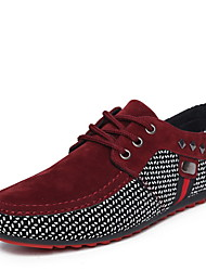 cheap -Men's Comfort Shoes Suede Fall & Winter Oxfords Color Block Black / Red / Blue
