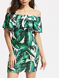 cheap -Women's / Ladies Date Street Trendy Bell Sleeve Sheath Dress - Trees / Leaves Tropical Leaf, Ruffle Printing Green S M L XL