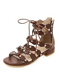 cheap -Women's Sandals Flat Heel Open Toe Rivet PU Casual / Preppy Spring & Summer Black / Brown / Gray
