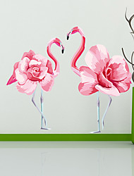 cheap -Wall Stickers Interesting Flamingo DIY Removable Vinyl Flowers Vine Mural Decal Art Stikers For Living Room Wall Decoration 48*58cm