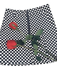 cheap -Women's Date / Street Basic / Street chic Bodycon Skirts - Check Patchwork Black S M L