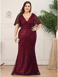 cheap -Mermaid / Trumpet Mother of the Bride Dress Elegant Plus Size V Neck Floor Length Tulle Short Sleeve with Sequin 2020 / Butterfly Sleeve
