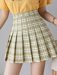 cheap -Women's Daily Wear A Line Skirts - Plaid Blushing Pink Green Light Green XS S M / Slim