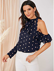 cheap -Women's Holiday Going out Boho Shirt - Polka Dot Blue & White, Print Navy Blue