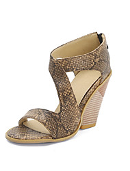 cheap -Women's Sandals Print Shoes Wedge Heel Peep Toe Faux Leather Casual / Minimalism Summer / Spring & Summer Light Brown / Yellow / Black / Color Block