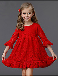 cheap -Toddler Girls' Solid Colored 3/4 Length Sleeve Above Knee Dress Red