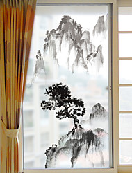 Недорогие -Горный пейзаж узор матовая оконная пленка цеплять винил теплоизоляция защита частной жизни домашнего декора для окна двери шкафа стикер / наклейка окна