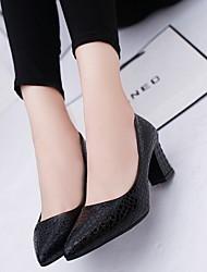cheap -Women's Heels Chunky Heel Pointed Toe PU Winter Black / White / Pink