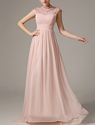 cheap -A-Line V Neck Floor Length Polyester Beautiful Back / Pink Engagement / Formal Evening Dress with Crystals / Pleats 2020