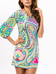 cheap -Women's / Ladies Date Street Trendy Bell Sleeve Swing Dress - Tribal Printing Green S M L XL