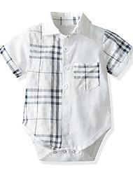 cheap -Baby Boys' Basic Black & White Color Block Short Sleeves Bodysuit White
