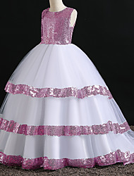 cheap -Princess Dress Flower Girl Dress Girls' Movie Cosplay A-Line Slip Cosplay Pink / Silver Dress Halloween Carnival Masquerade Polyester Sequin