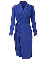 cheap -Women's A Line Dress - Solid Color Black Wine Royal Blue S M L XL